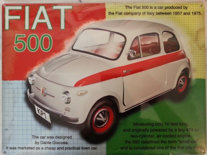 plaque decorative metal fiat 500