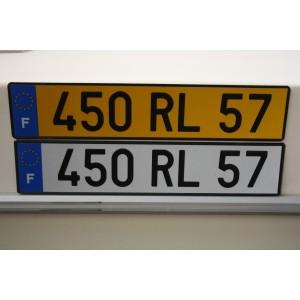 Plaque  auto Jaune 520 x 110